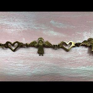 Brass Angel and Hearts Bracelet